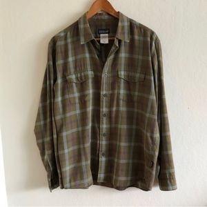 Patagonia Green and Brown Flannel Button Down